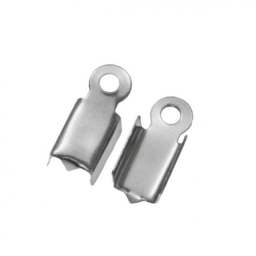 Stainless Steel Veterklem (voor 2 mm leer of 3 mm suede) Antiek Zilver (25 Stuks)