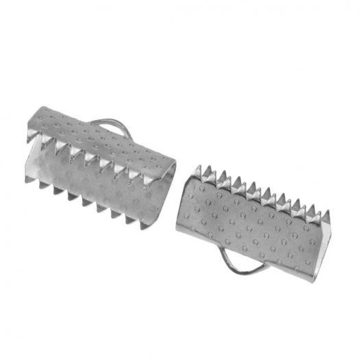 Stainless Steel Lintklem (10 mm) Antiek Zilver (20 Stuks)