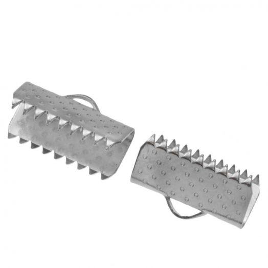 Stainless Steel Lintklem (13 mm) Antiek Zilver (20 Stuks)