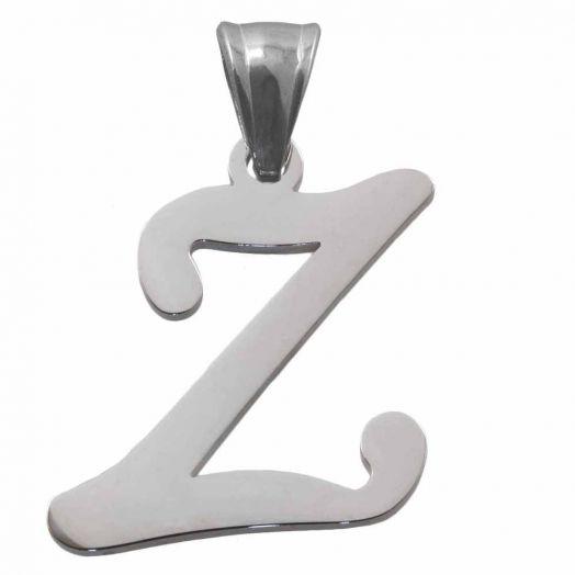 Stainless Steel Initiaal Hangers Z (32 mm) Antiek Zilver (1 Stuks)