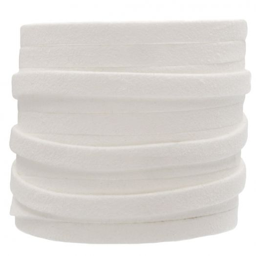 Faux Suede Veter (5 mm) White (5 Meter)