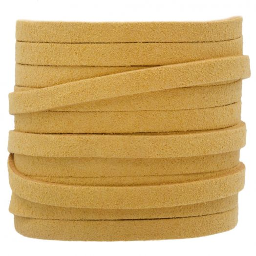 Faux Suede Veter (5 mm) Gold Sand (5 Meter)