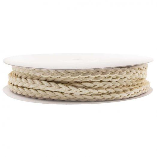 Gevlochten Faux Suede Veter (5 mm) Cream White (10 Meter)
