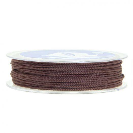 Twisted Nylon Koord (1 mm) Chocolate Brown (15 Meter)