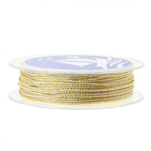 Twisted Nylon Koord (1 mm) Gold Silver (15 Meter)