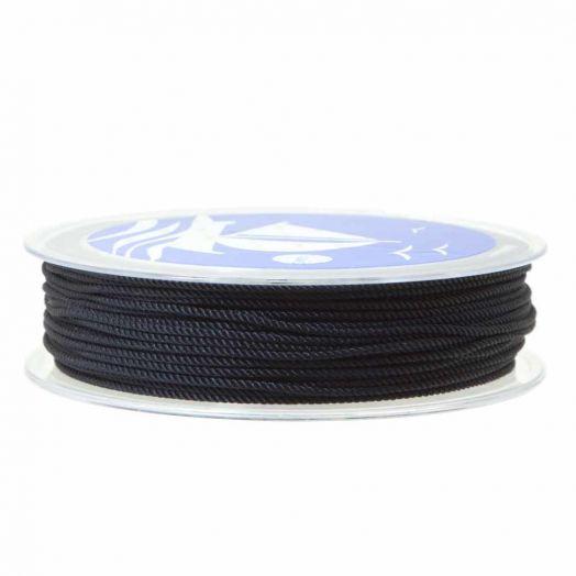 Twisted Nylon Koord (1 mm) Black (15 Meter)