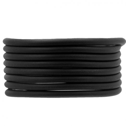 Rubber Koord (4 mm) Black (5 Meter) holle binnenkant