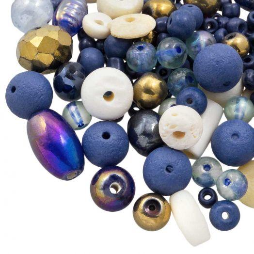 Kralenmix - Divers (Diverse Maten)  Indigo Blue (50 Gram)