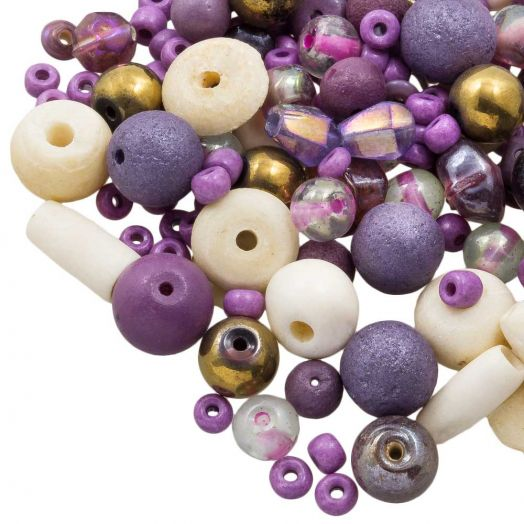 Kralenmix - Divers (Diverse Maten) Purple Party (50 Gram)