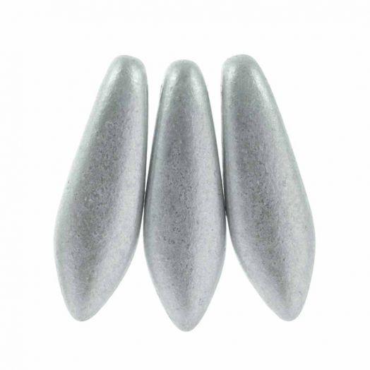 Dagger Glaskralen (5 x 16 mm) Aluminium Silver (25 stuks)