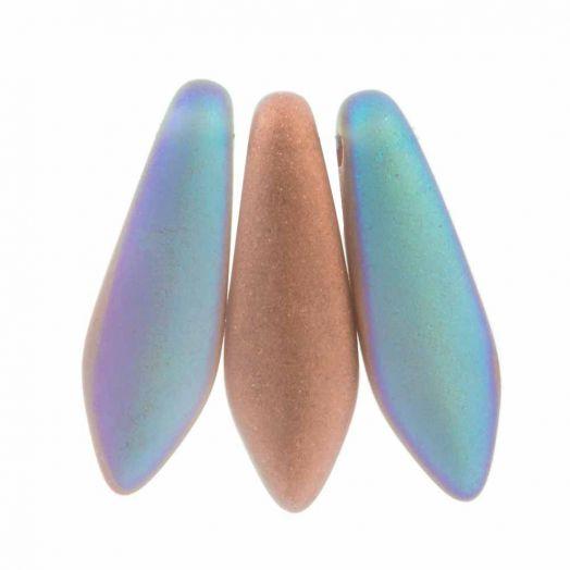 Dagger DQ Glaskralen (5 x 16 mm) Crystal Copper Rainbow Matted (25 stuks)