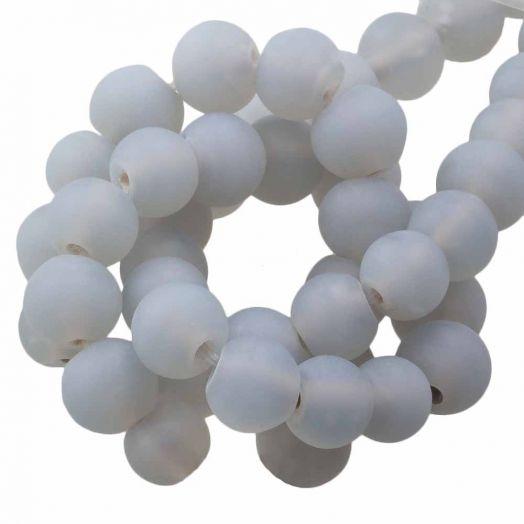Glaskralen Mat (6 -7 mm) Chalk Grey (35 Stuks)