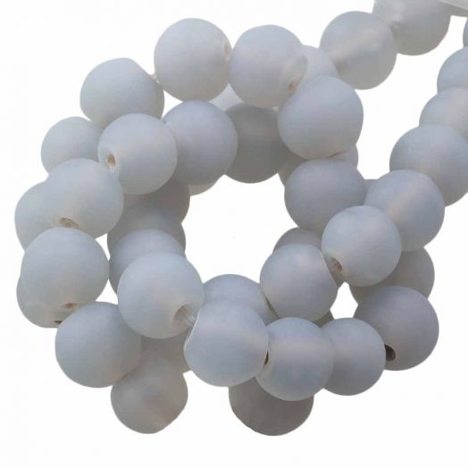 Glaskralen Mat (8 - 9 mm) Chalk Grey (28 Stuks)