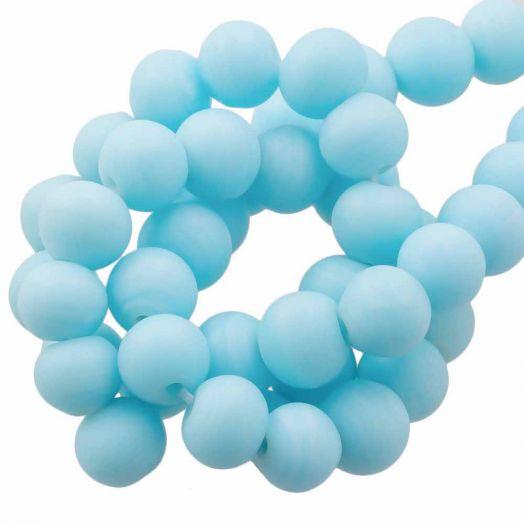 Glaskralen Mat (6 -7 mm) Sapphire (35 Stuks)