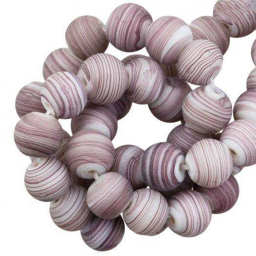 Glaskralen Mat Gestreept (8 x 9 mm) Dusty Purple (21 Stuks)
