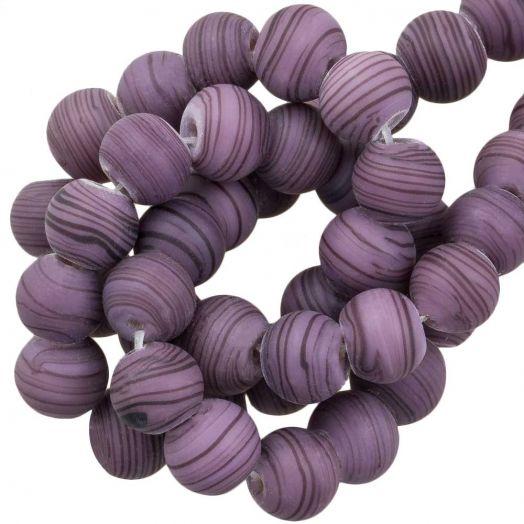 Glaskralen Mat Gestreept (8 x 9 mm) Purple (21 Stuks)