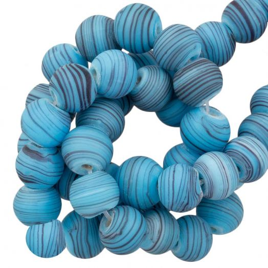 Glaskralen Mat Gestreept (8 x 9 mm) Sky Blue (21 Stuks)