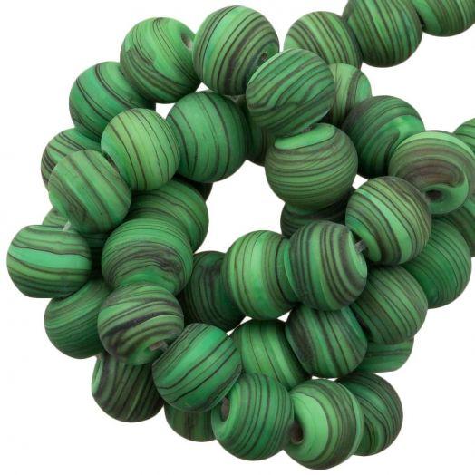 Glaskralen Mat Gestreept (8 x 9 mm) Bright Green (21 Stuks)