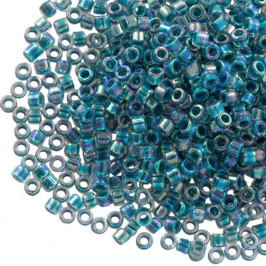 Miyuki Delica (11/0 mm) Marine Blue Lined Crystal AB (10 Gram)