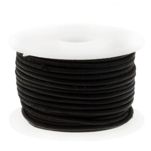 DQ leer Vintage (1 mm) Black (10 Meter)