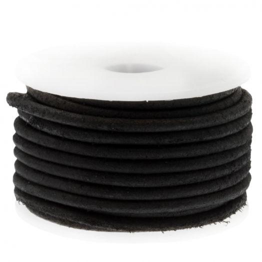 DQ leer Vintage (2 mm) Black (5 Meter)
