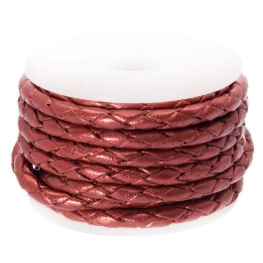 DQ Gevlochten Leer Metallic (3 mm) Red (2.5 Meter)