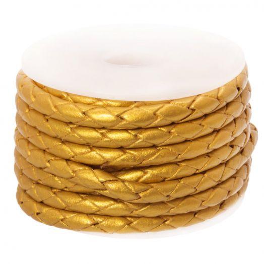 DQ Gevlochten Leer Metallic (3 mm) Gold (2.5 Meter)