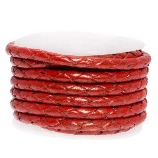 DQ Gevlochten Leer Metallic (3 mm) Bright Red (2.5 Meter)