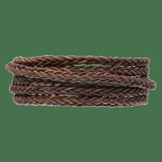 DQ Gevlochten Leer Vintage (4 mm) Brown (1 Meter)