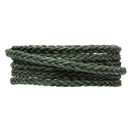 DQ Gevlochten Leer Vintage (4 mm) Safari Green (1 Meter)