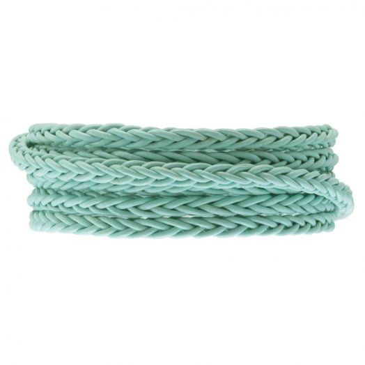 DQ Gevlochten Leer Regular (4 mm) Mint Green (1 Meter)