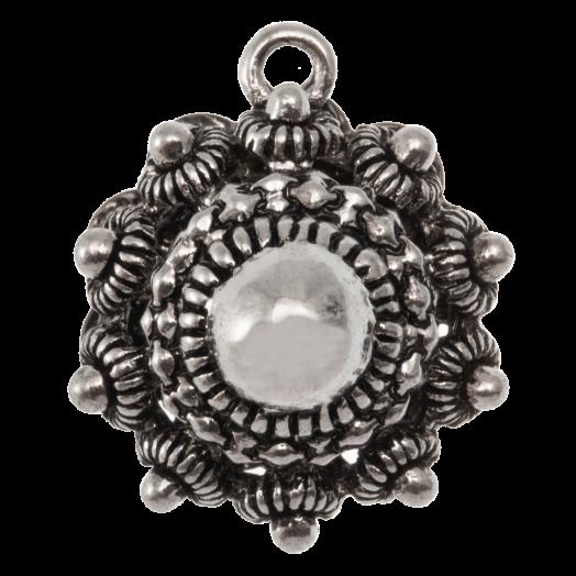 Zeeuwse Knop Bedel (22 mm) Antiek Zilver (2 stuks) Binnenmaat Oogje 2 mm