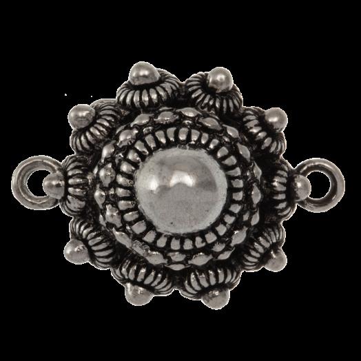 Zeeuwse Knop Tussenstuk 2 Ogen (25 mm) Antiek Zilver (2 stuks) Binnenmaat oogje 2 mm
