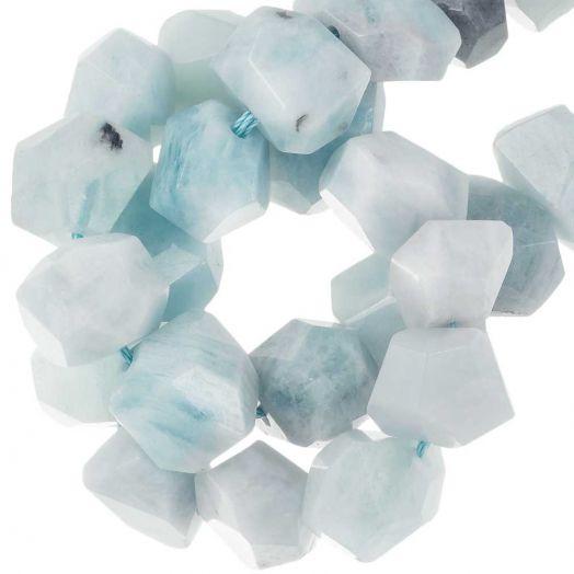 Aquamarine Facet Kralen (16 - 20 x 11 - 15 x 11 - 15 mm) 27 Stuks
