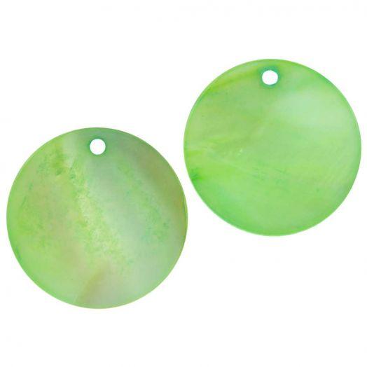 Schelp hanger (25 mm) Light Green (25 Stuks)