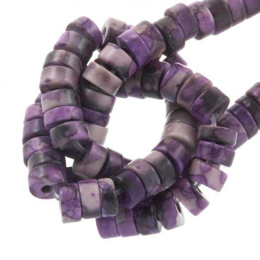 Heishi Natuursteen Kralen (4 x 2 mm) Purple (160 Stuks)