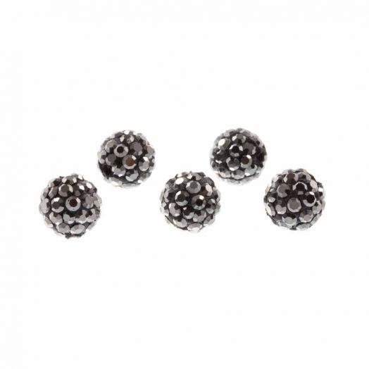 Shamballa kralen (4 mm) Antracite (5 stuks)