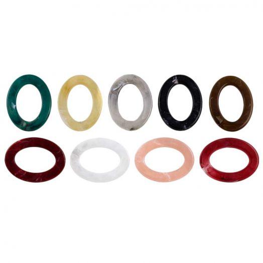 Acryl Ringen (37 x 28 x 3.5 mm) Mix Color (25 stuks)