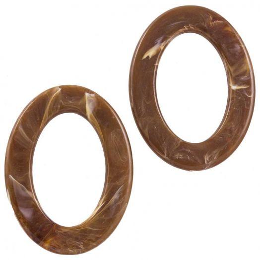 Acryl Ringen (37 x 28 x 3.5 mm) Brown (25 stuks)