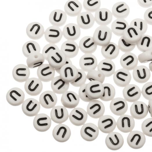 Letterkralen U (8 x 8 x 4 mm) White (25 stuks)