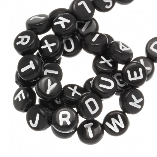 Letterkralen mix (7 x 4 mm) Black (400 stuks)
