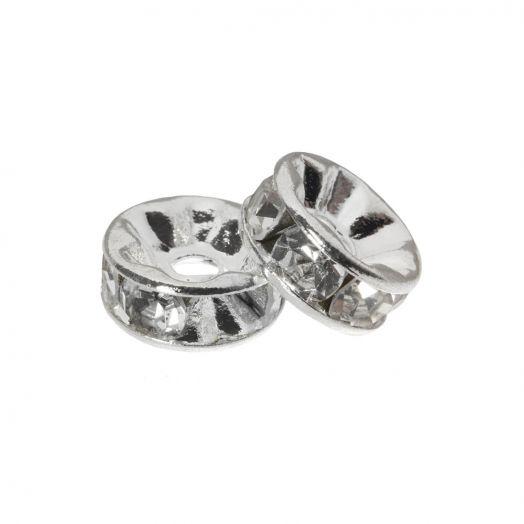 Rhinestone Spacers (4 x 2 mm) Clear Crystal (10 Stuks)