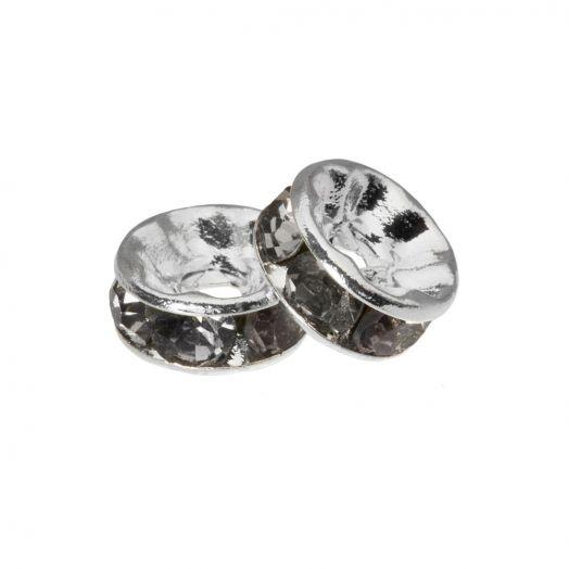 Rhinestone Spacers (4 x 2 mm) Grey (10 Stuks)