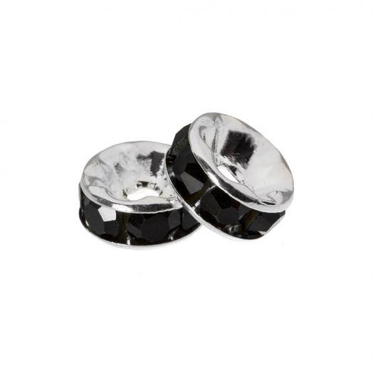 Rhinestone Spacers (4 x 2 mm) Black (10 Stuks)