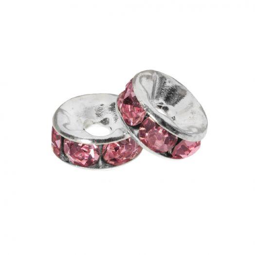 Rhinestone Spacers (4 x 2 mm) Pink (10 Stuks)