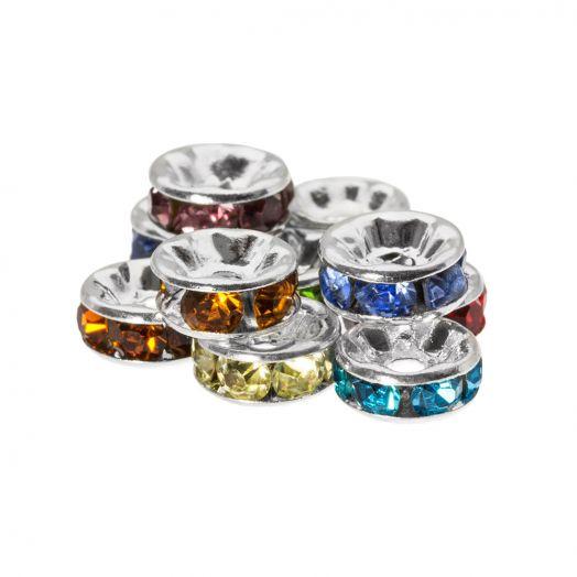 Rhinestone Spacers (4 x 2 mm) Mix Color (10 Stuks)