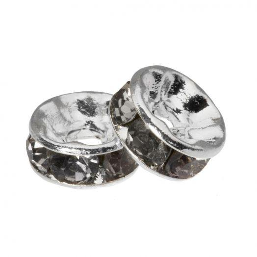 Rhinestone Spacers (6 x 3 mm) Grey (10 Stuks)