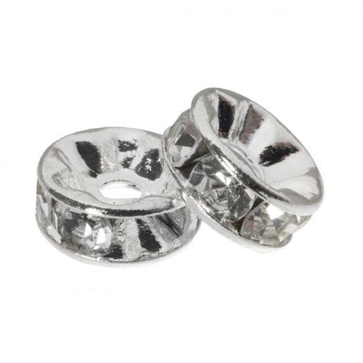 Rhinestone Spacers (6 x 3 mm) Clear Crystal (10 Stuks)