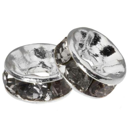 Rhinestone Spacers (8 x 4 mm) Grey (10 Stuks)