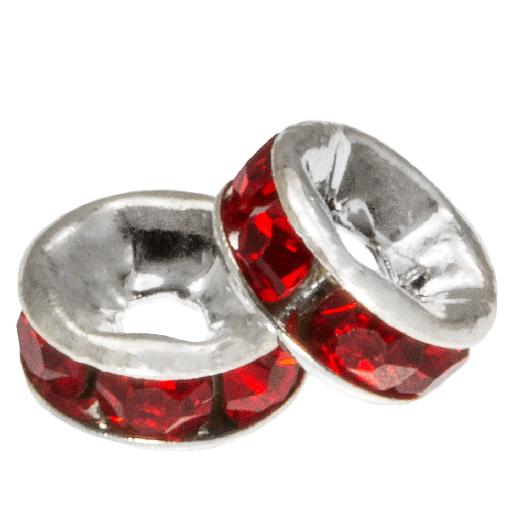 Rhinestone Spacers (6 x 3 mm) Red (10 Stuks)